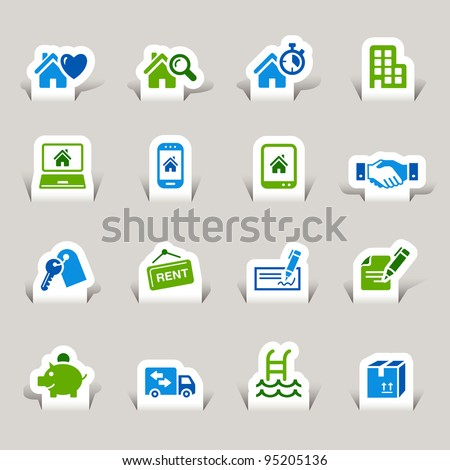 Paper Cut - Real estate icons - stock vector