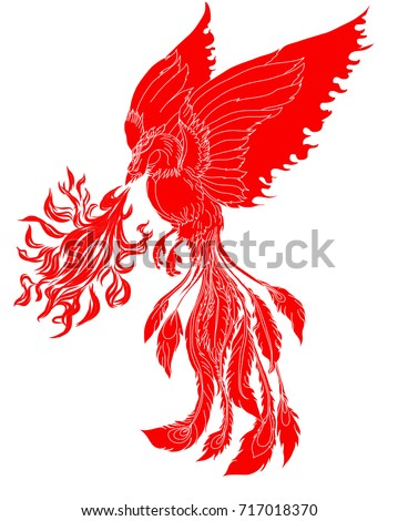 Paper cut red tribal phoenix fire stock vector 717018370 paper cut red tribal phoenix fire bird tattoojapanese peacock for tattoo traditional asian voltagebd Choice Image
