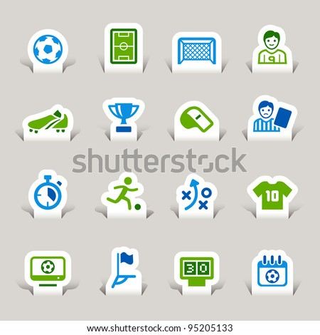 Paper Cut - Soccer Icons - stock vector