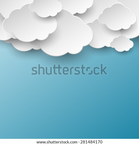 Paper cut white clouds over blue background - stock vector