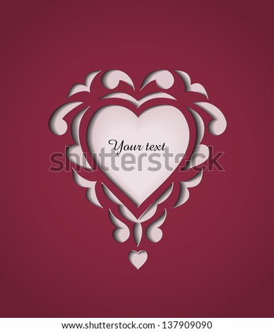 Paper cutout card with heart and space for your text