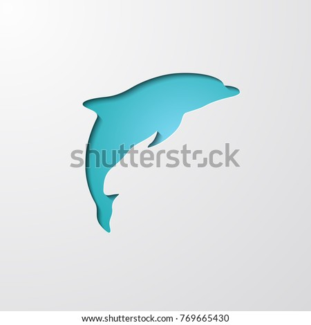paper cutout dolphin with shadow on blue background cartoon abstract dolphin jumping on wave