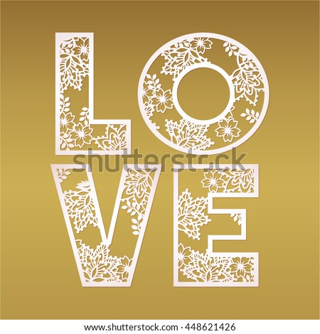 Paper cutout love design over gold stock vector 448621426 paper cutout love design over gold background vector may be used for laser cutting spiritdancerdesigns Gallery