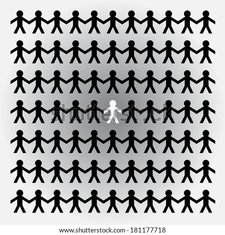 Paper cutout people holding hands - stock vector