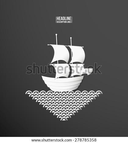 Paper cutout. Ship  - stock vector