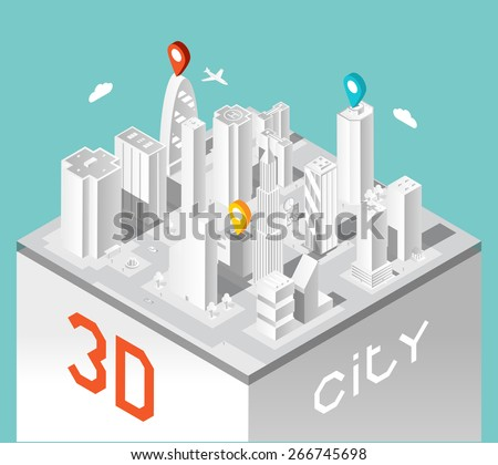 Paper 3d city. Isometric buildings landscape. Town and elegant urban architecture, business houses. Vector illustration - stock vector