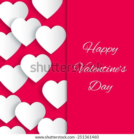 Paper 3D hearts pink background with Happy Valentine's Day text. Valentines Day greeting card. Vector illustration EPS10 - stock vector