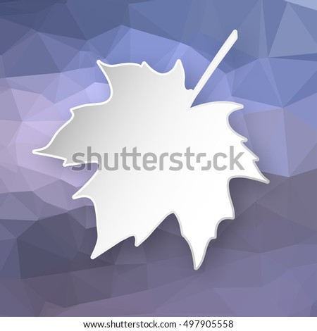 Paper 3d maple leaf over blue abstract geometric triangular background.