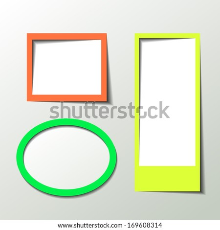Paper 3D picture frame design vector for image or text - stock vector