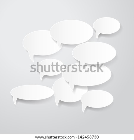 Paper 3D Speech And Thought Bubbles Set - Isolated On Background - Vector Illustration, Graphic Design, Editable For Your Design. Eps 10 - stock vector