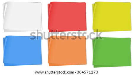 Paper design in six colors illustration