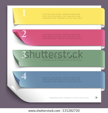 Paper design template for website layout,numbered paper banners. Vector EPS10 - stock vector