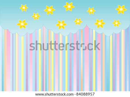 paper design with strips and flowers on top - stock vector