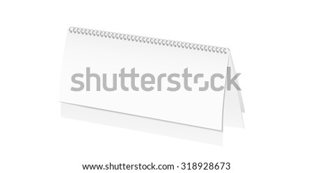 paper desk spiral calendar with blank pages on white background