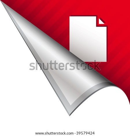 Paper document icon on vector peeled corner tab suitable for use in print, on websites, or in advertising materials.