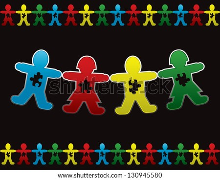 Paper doll children background design with symbolic autism puzzle pieces - stock vector