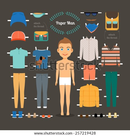 Paper doll man template. Shoes and jacket, model doll, paper clothing and dress. Vector illustration - stock vector