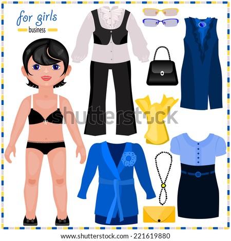 Paper Doll Set Elegant Clothes Business Stock Vector 221619880 ...
