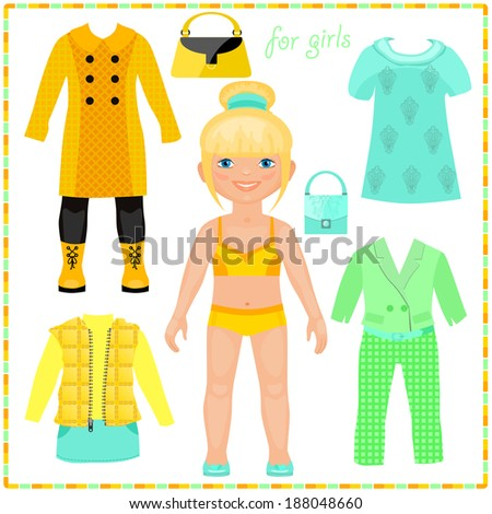 Paper doll with a set of fashion clothes. Pretty Blond. Template for cutting. - stock vector