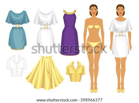 paper doll template woman - body template stock images royalty free images vectors