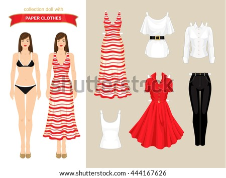 Paper Doll Clothes Summer Holiday Body Stock Vector