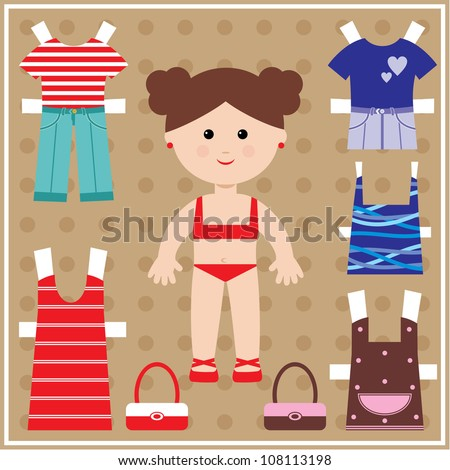 Paper doll with clothes set. vector - stock vector