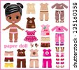 Paper doll with clothes set. vector, no gradient - stock vector