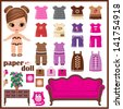 Paper doll with clothes set. vector, no gradient - stock