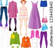 Paper doll with clothing set - stock vector