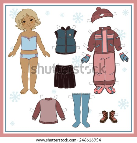 Paper doll with winter clothes for game - stock vector