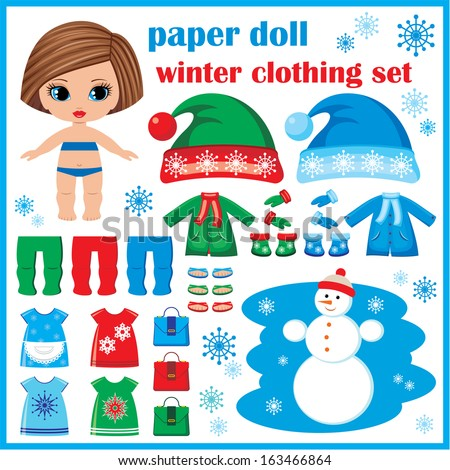 Paper doll with winter clothes set. vector, no gradient - stock vector