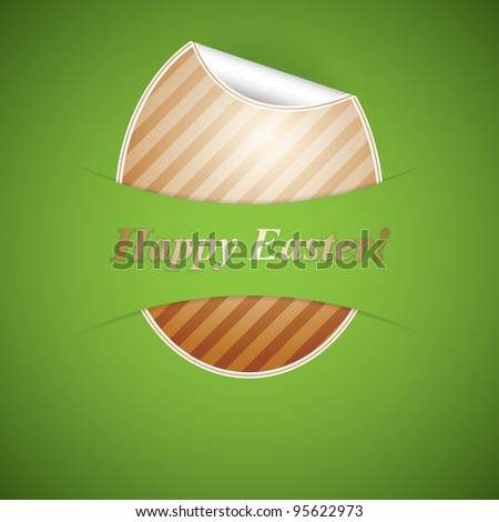 Paper easter egg sticker on green background - stock vector