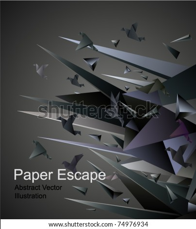 Paper Escape, Origami abstract vector illustration. - stock vector