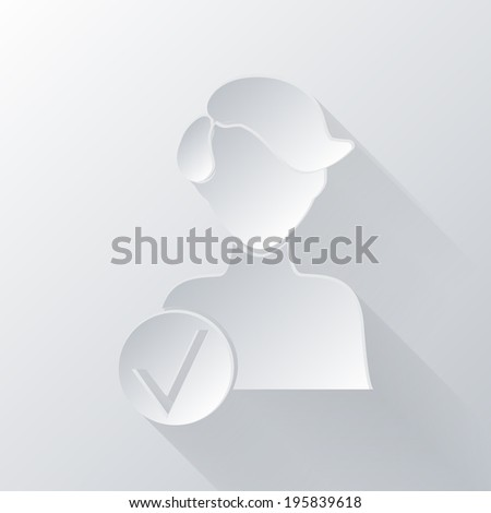 paper flat icon with a shadow. add friend icon