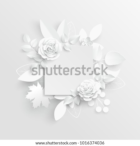 Paper flower frame white rose white stock photo photo vector paper flower frame white rose white rectangular photo frame with white cut out mightylinksfo
