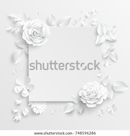 Paper flower frame white rose white stock vector 748596286 paper flower frame white rose white rectangular photo frame with white cut out mightylinksfo
