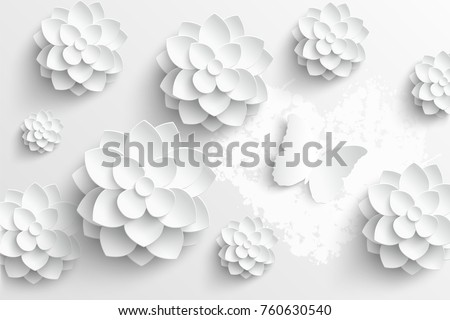 Paper flower white lotus cut paper stock vector royalty free paper flower white lotus cut from paper wedding decorations greeting card template mightylinksfo