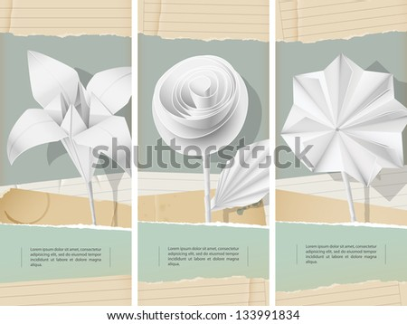 Paper flowers- banners - eps 10 - stock vector