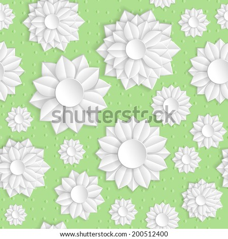 Paper Flowers Seamless. EPS 10. One-click change background color! Smartly grouped, mask was used. - stock vector