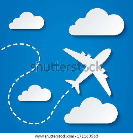Paper flying plane in clouds. Blue sky travel background. Cutout flat icons. Vector illustration. - stock vector