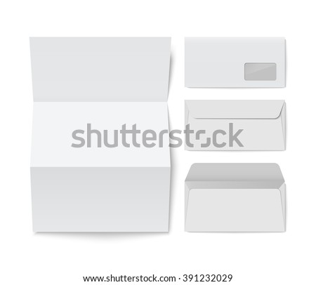 Paper Folded Letter And Blank Envelope Template Isolated On White  Background. Raalistic Vector Illustration.