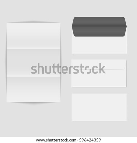 Paper Folded Letter Blank Envelope Template Stock Vector