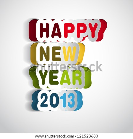 Paper Folding Happy new year 2013 lettering - vector - stock vector