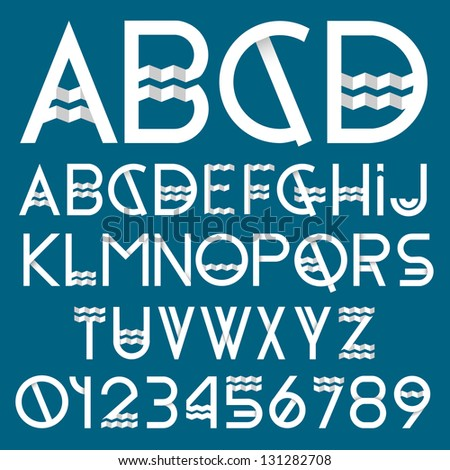Paper font and numbers. Vector set - stock vector