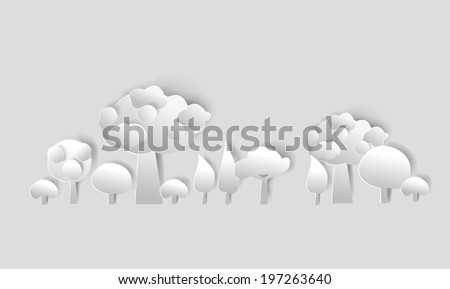 Paper forest, background made of white paper - stock vector