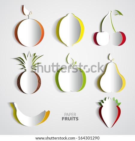 Paper Fruit Set cut out - mix design card illustration - stock vector