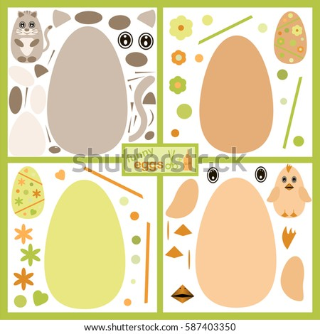 Paper game for kids. Vector. Funny eggs.