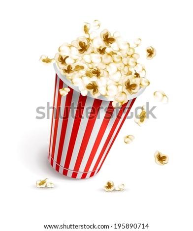 Paper glass full of popcorn. Eps10 vector illustration. Isolated on white background - stock vector
