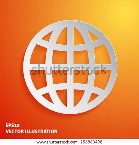 Paper globe icon on orange background. Vector illustration - stock vector