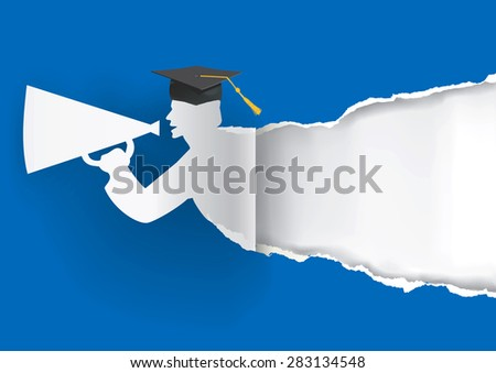 Paper graduate ripping paper. Blue Graduation background with Paper graduate ripping paper with place for your text or image.Vector illustration. - stock vector